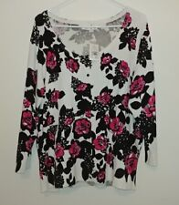 cato womens cardigan size 18/20W white with black and pink floral