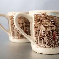 Johnson Brothers Olde English Countryside Brown Scenes Coffee Tea Mug Set of 2