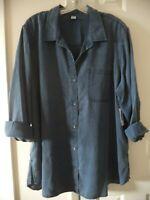 Must Have! Old Navy Med Wash Blue Lite Wgt Denim Tencel Buttondown Shirt 8 10 M