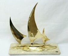 Bijan Mid Century Modern Sailboats Sculpture With Marble Stone Base