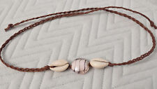 Hemp Necklace Cowrie Cowry Shell Brown Glass  Bead tie on choker anklet Handmade
