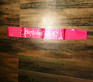 Birthday Girl Pink and White Sash Satin New
