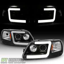 Blk 1997 2003 Ford F150 97 02 Expedition Led Tube Projector Headlights Headlamps Fits 1997 Ford F 150