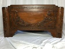 1 Vintage 20th Century Oriental Guangdong Large Camphor Wood Carved Chest Table
