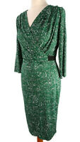 M&S Size 12 Green 3/4 Sleeve V Neck White Black Green Abstract Midi Dress