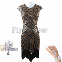 1920s Flapper Dress Prom Gown Great Gatsby Party Sequins Evening Women's Dresses