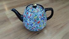 Vintage Hand-Painted 2pt Teapot Black White Multi-Coloured Spot