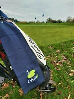 GOLF ONE8 Bag Towel in Blue. 60cm x 40cm. Clip included