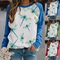 Women Animal Dragonfly Print Long Sleeve T Shirt Blouse Sweatshirt Casual Tops