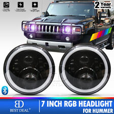 For Hummer H1 H2 H3 7'' RGB Halo LED Headlight Assembly Update App Control