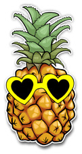 "Pineapple with Yellow Heart Sunglasses Sticker for car truck or laptop 6"" tall"