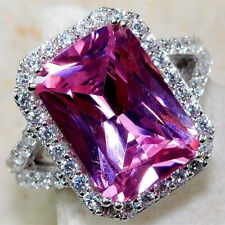 Luxury Big Princess Cut Pink Topaz Wedding Rings 925 Silver Party Jewelry Sz6-10