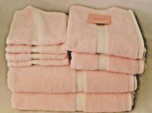 Kate Spade Eight Piece Bathroom Towel Set Solid Medium Pink 100% Cotton New