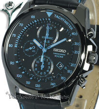 New SEIKO QUARTZ ION BLACK CHRONO With BLACK LEATHER BUCKLE STRAP SNDD71P1