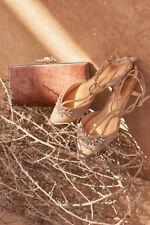 BHLDN Bella Belle T Strap Phoebe Gold Crystal Strappy Flat Sandals Sz 7 $225
