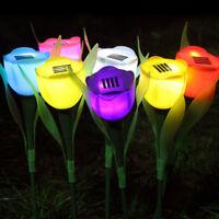Outdoor Solar Power Tulip Flower LED Yard Garden Path Way Landscape Lamp Nice