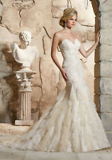 Morilee 2772 Bridal Wedding Dress Lace Strapless Fit Flare Mermaid Ivory Size 16