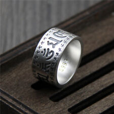 New 999 Sterling Silver Carved Buddhist Words Bless Ring Band Size 6.5