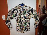 Vintage Roper Western Shirt Womens Medium Button Up Bulls Horses Cowboys USA