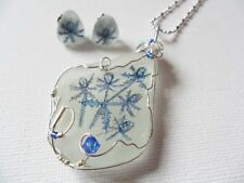 Sea holly flowers hand painted to order sea glass necklace and stud earring set