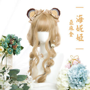 Japanese Cosplay Linen Gold Palace Long Curly Hair Lolita Sweet Girl's Daily Wig