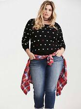 NWT Torrid Plus Size 5X Black Heart Print Intarsia Sweater (TTT6)