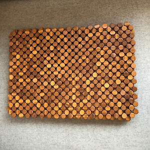 Vintage Set Of 5 Rectangular Wood Round Beaded Placemats Table Charger MCM Boho