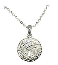 Volleyball Clear Crystal Silver Plated Chain Necklace Jewelry Mom Team Ball