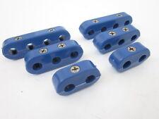 Blue Hi Temp Ignition Lead Brackets Seperators Set Spark Plug Wires S/Less Screw
