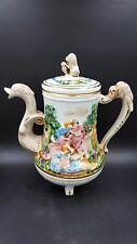 Vintage Unique Paul's Italy Porcelain Victorian Theme Coffee Pot Swan Spout