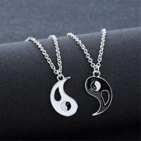 Unisex Emaille Kette Beste Freunde Zwei Halsketten Yin Yang! Tai Chi Anhänger