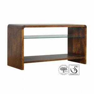 Chestnut Glass Shelf Media Unit
