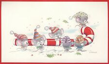 Vintage UNUSED Christmas Card NORCROSS EMBOSSED CHRISTMAS 6 MICE MOUSE CANDYCANE