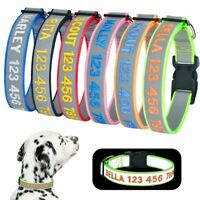 Reflective Dog Collar Personalised Embroidered Custom Name ID Puppy Collar S M L