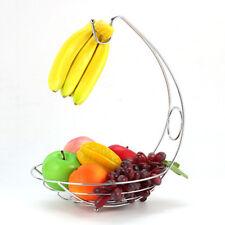 Fruit Tree Basket Bowl Stand with Banana Hanger Table Metal Fruits Organizer