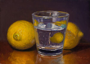 small original oil painting a day realism still life lemon cup water 7x5 Y Wang