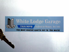 TRIUMPH White Lodge Garage Dealer Car Window STICKER Stag Spitfire TR2 3 4 5 6 7