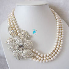 "20-23"" 3Row 6-8mm White Freshwater Pearl Necklace X2844 Wedding Pearl Necklace"