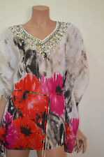 Sharon Young - Small (4-6) Fabulous Beaded Floral Tunic Blouse Top-$129.00