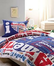 I LOVE AMERICA USA LINGE DE LIT PARURE HOUSSE DE COUETTE 160x200 + TAIE 70x80 cm