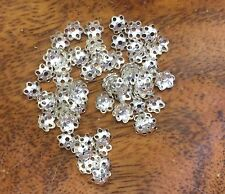 Vintage Silver Plate Pierced Design Domed Umbrella Bead Caps Jewelry Findings B