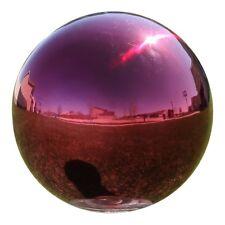 Garden Gazing Globe Mirror Ball in Red Stainless Steel Bowl Basket Accent Pc.