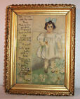 Antique Original Painting  Young Girl with a Lisp  Flower Garden , Oil on Canvas