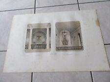 LA ROCHE GUYON GRANDE GRAVURE 1840 CHAPELLE CHATEAU PASSION LITHOGRAPHIE