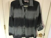 Woman's Chico's size 2 grey ombré pin tuck front roll sleeve cotton blouse