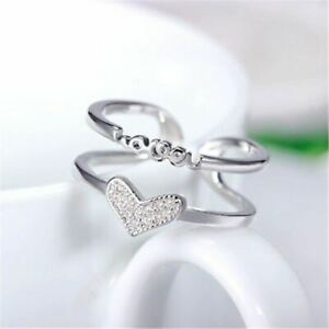 Finger To Heart Adjustable Valentine Gifts 14k White Gold Finish Ring For Girls