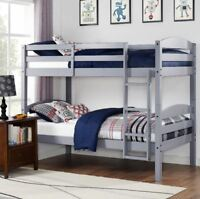 Bunk Beds Kids Twin Over Twin Low Bunked Bed Bedroom Furniture Ladder Wood Gray