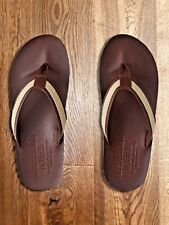 Mens Abercrombie & Fitch A&F Leather Flip Flop Dark Brown/Tan (M) UK8-9 EU42-43