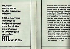 PUBLICITE ADVERTISING 106  1970   Radio RTL (2p) non stop Ph. Bouvard
