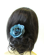 Large Turquoise Blue Rose Flower Hair Clip 1950s Bridesmaid Accessory Vtg 1445